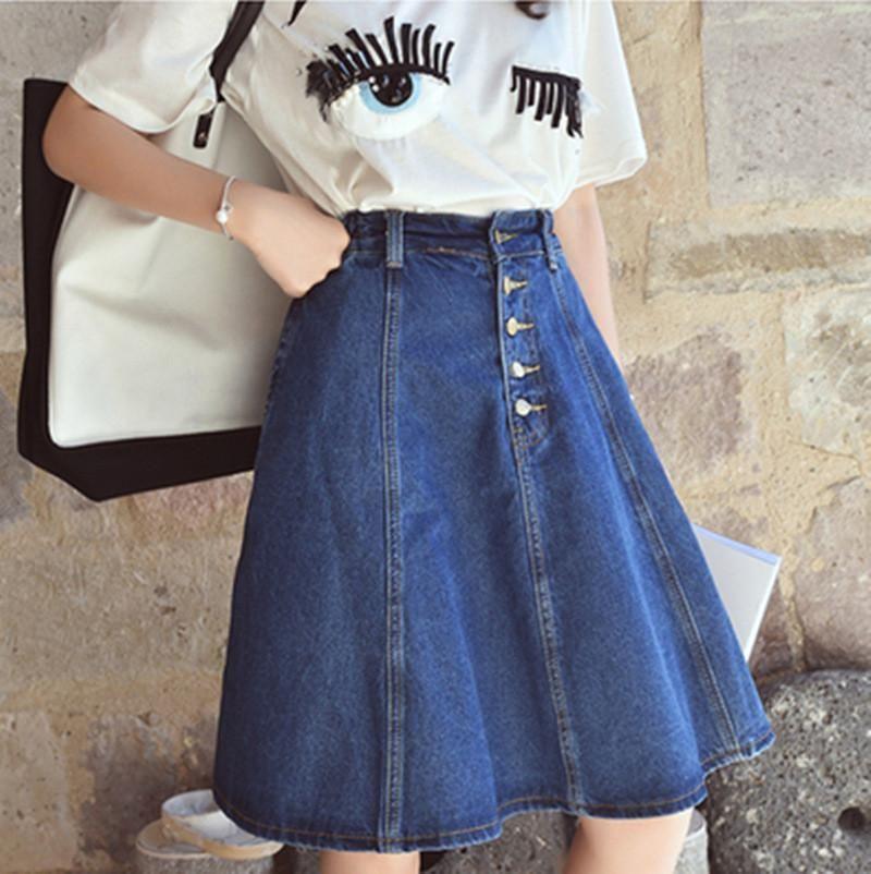 9dee84bb8e New arrival denim skirts womens a-line jeans front button skirt jupe women  knee-length jean skirt