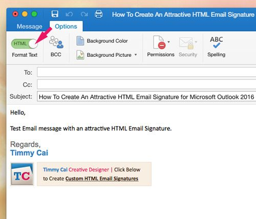How To Create An Attractive Html Email Signature For Microsoft Outlook 2016 For Mac Mydesignpad Com Html Email Signature Email Signatures Portfolio Site