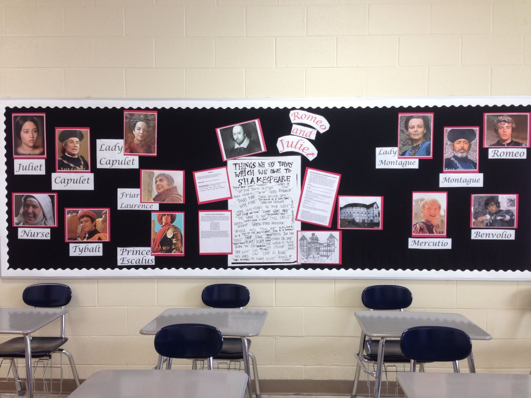 My Romeo and Juliet bulletin board.