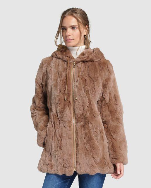 6304667e7 Abrigo corto de mujer El Corte Inglés de pelo de rex   Peletería ...