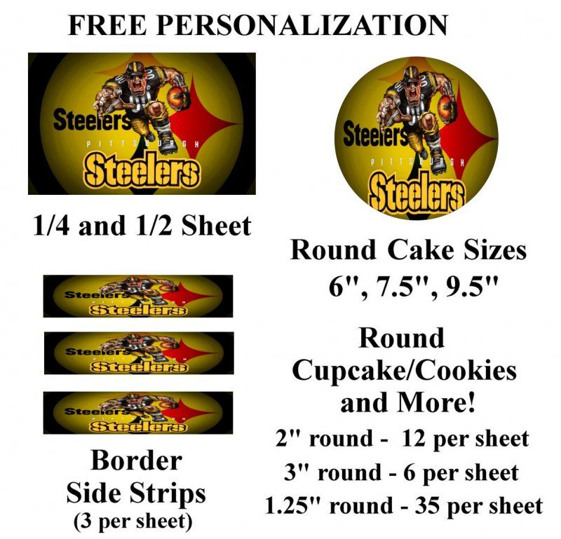 Pittsburgh Steelers Edible Image Frosting Sheet #65 (different sizes)