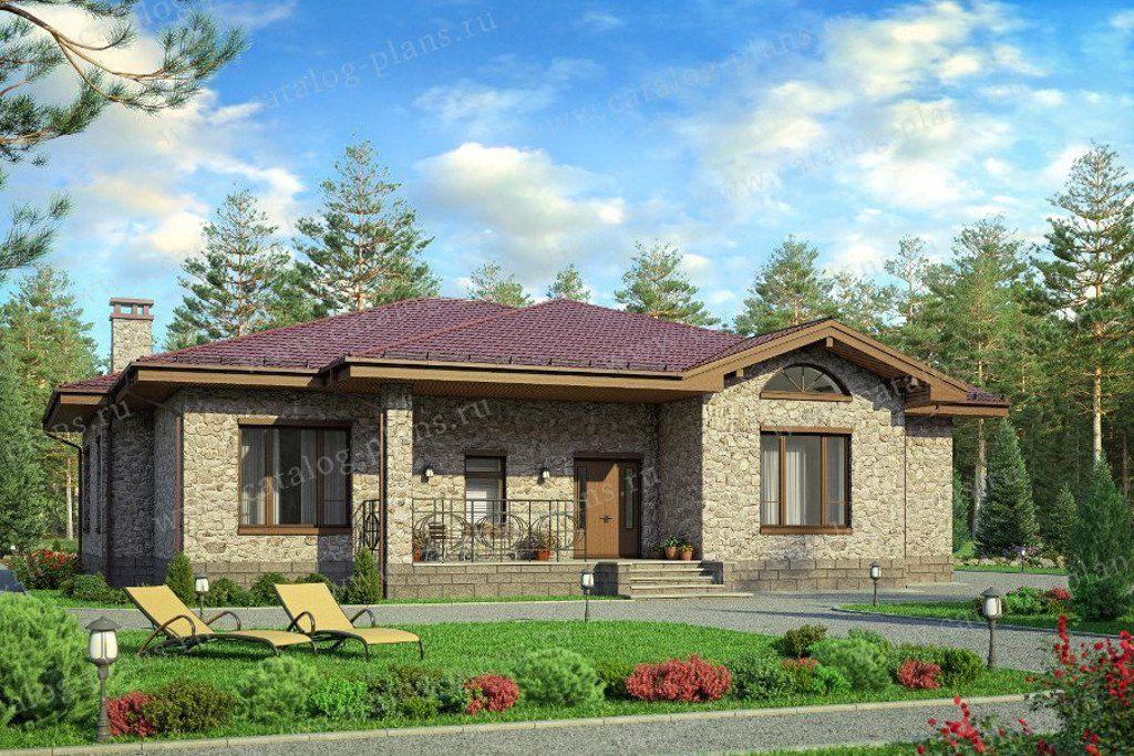 58-01K - Проект одноэтажного кирпичного дома с террасой (с ...