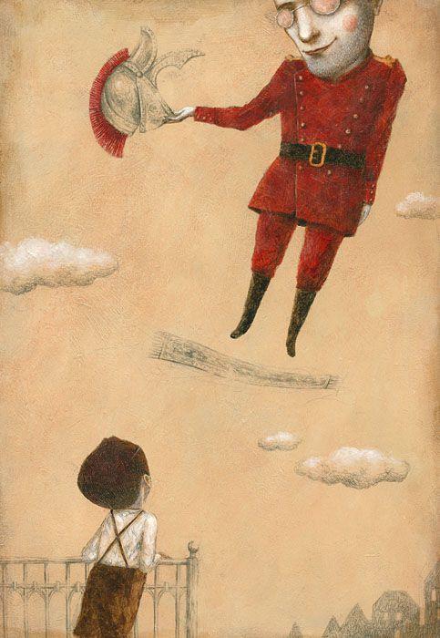 BRUNO, IL BAMBINO CHE IMPARÒ A VOLARE, a book about the life of Bruno Schulz, by Nadia Terranova 2013  -  Ofra Amit illustrator