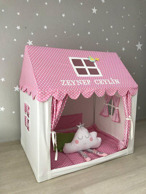 Teepee de lona rosa, tienda playhouse, tipi interior, casa de juegos de algodón, cama Montessori, tee pee para niñas, decoración de las habitaciones para niños, niñas juegan cottage