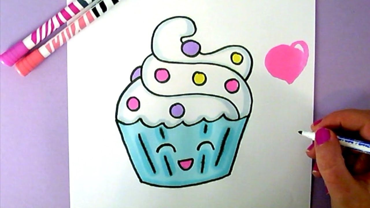 cute food drawing how to draw a super cute and easy cupcake step by step pinterest selber. Black Bedroom Furniture Sets. Home Design Ideas