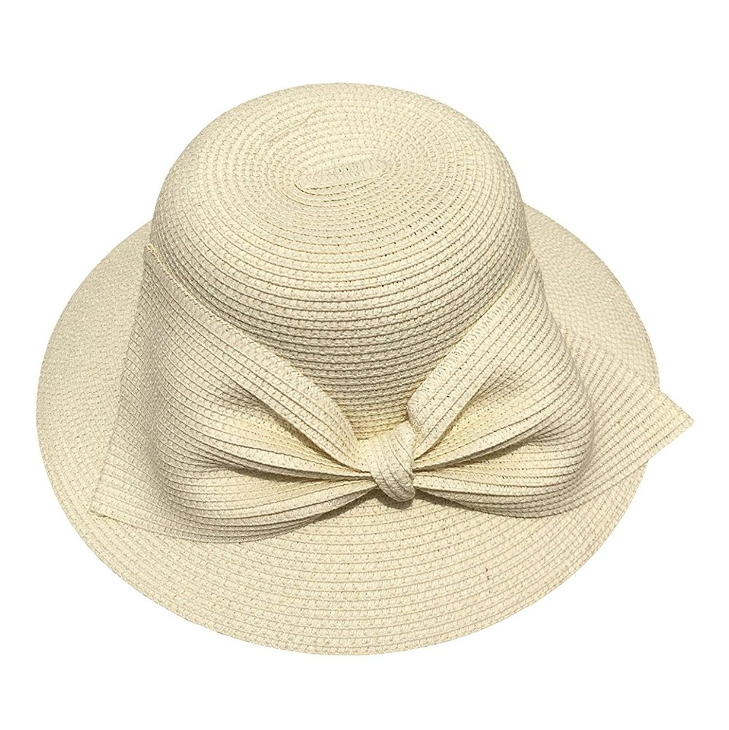 97918f08577 Womens SPF50 Packable Summer Sun Beach Straw Hat Wide Brim Floppy 55-58cm -  7w08_cream