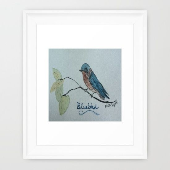 framed blue bird in watercolor