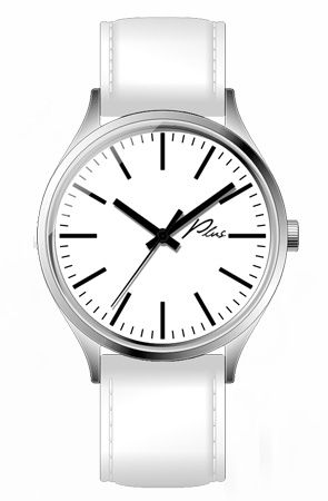 The Classic Watch in White / White Leather by Plus Watches