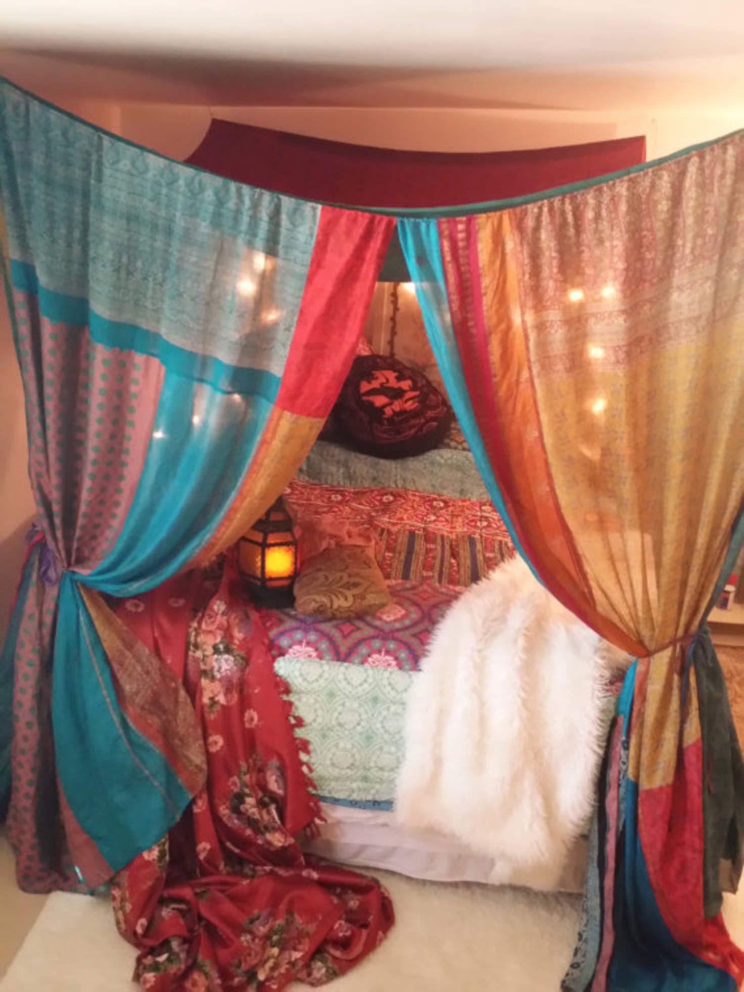 Bed canopy gypsy - Boho Bed Canopy Gypsy Hippie Hippy Hippiewild Patchwork India Sari Scarves Bedroom Decor Bohemian Chic