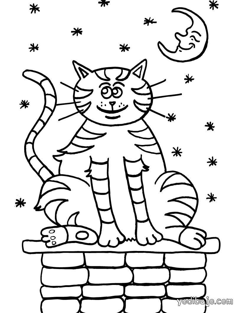 Dibujo para colorear: Gato a la luz de la luna   Dibujos para ...