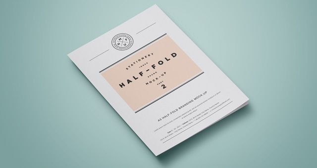 Psd A3 Half Fold Mock-Up vol2 Freebies Pinterest Mockup - half fold brochure template