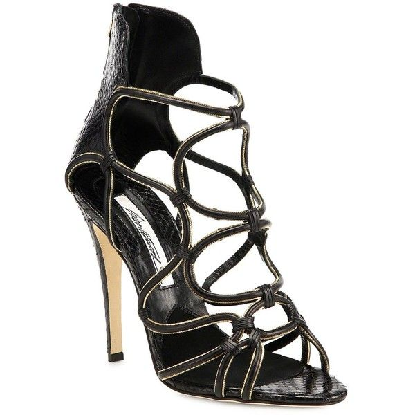 Brian Atwood Cleta Zip-Trimmed Python & Leather Sandals