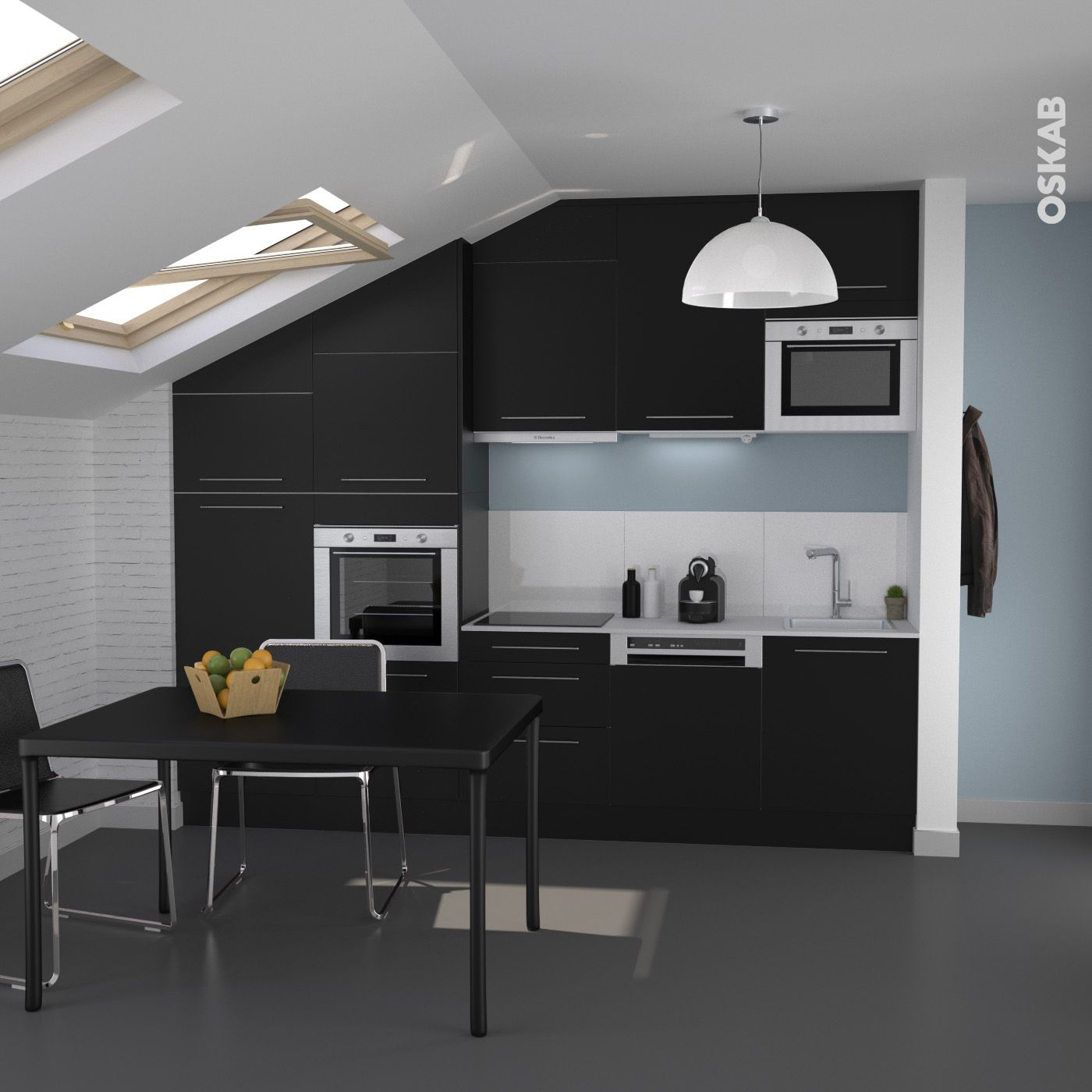 Cuisine contemporaine design noire finition mate for Cuisine contemporaine design
