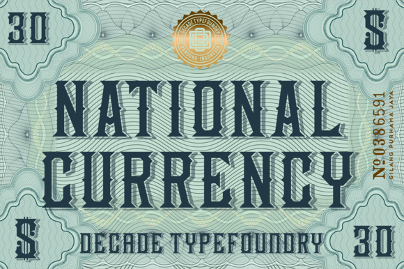 National Currency Font by Decade Type Foundry on Creative Market