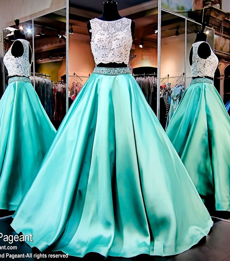 a6edc089c2 Gorgeous Two Piece Green Bead Prom Gowns Lace Crop Top Quinceanera Dresses