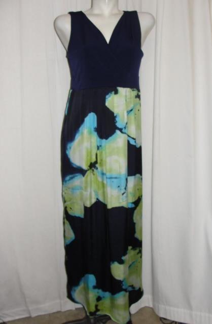 Susan Graver Womens Size S Blue Lime Watercolor Polyester Spandex