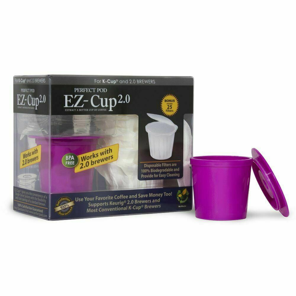 Perfect Pod EZCup 2.0 Reusable Coffee Pod + 25 Bag Filter