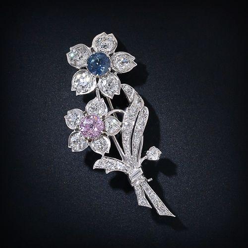 Pink Sapphire and Blue Sapphire Diamond Floral Brooch  #TuscanyAgriturismoGiratola