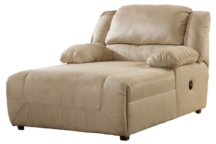 Ashley hogan reclining chaise lounge khaki clearance for Ashley chaise lounge sofa