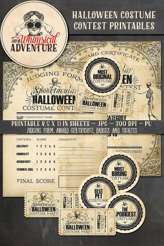 Halloween Costume Contest Award Certificate Judging Form Badges