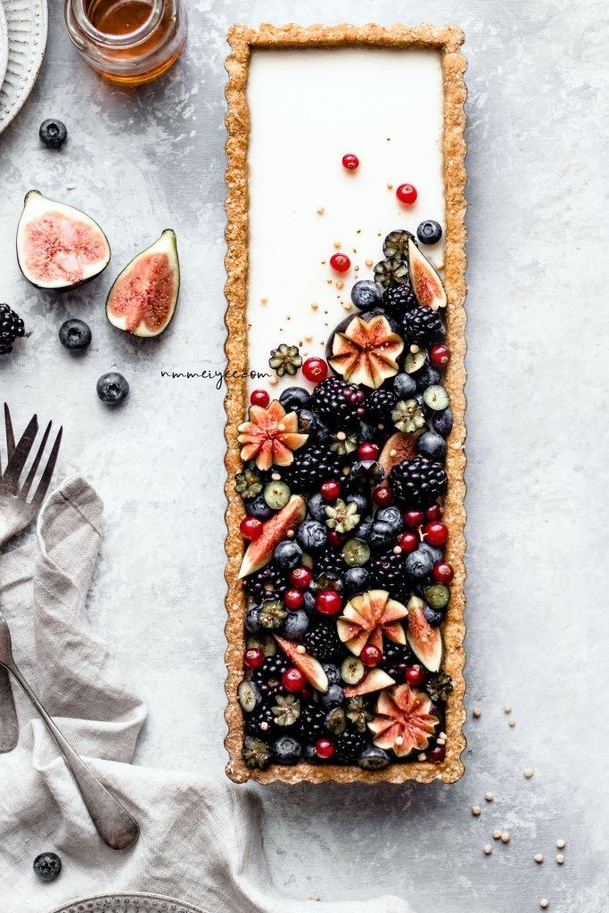 Photo of Vanilla maple custard tart with quinoa flakes almond crust (Vegan, gluten-free & refined sugar-free) | nm_meiyee