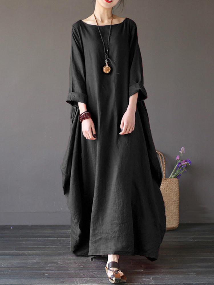 Women Casual Loose Pure Color Baggy Dress 3 4 Sleeve Maxi Dresses - Banggood  Mobile 68df327f3