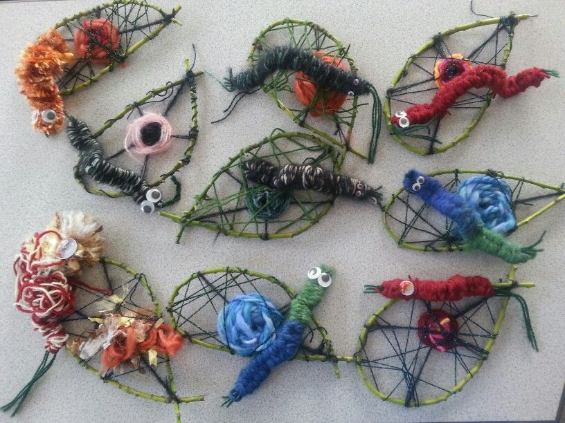 Woven Caterpillars On Leaves Children S Spring Craft Ideas Sally