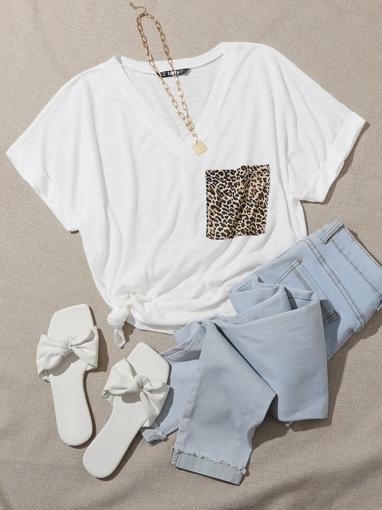 T Shirty Brazowy Moda T Shirty Brazowy Shein Polska Cuffed Tee Lace Jacket Trendy Fashion Outfits