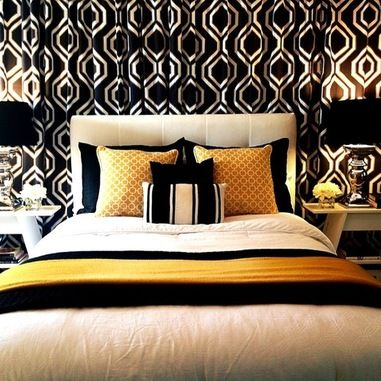 Stunning modern interior chosen in golden accent color contemporary black white bedroom decorating idea with little of gold applied also best you better knock first images on pinterest ideas