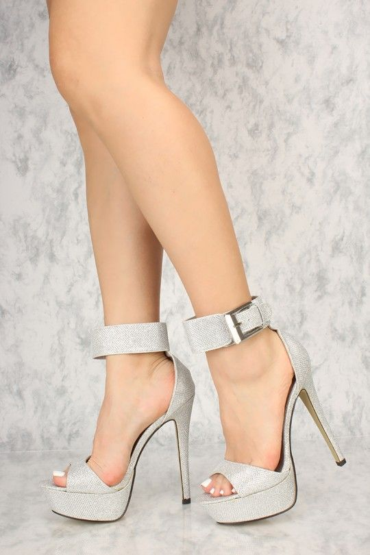 ccaed08504c Silver Glittery Ankle Buckle Strap Detailing Platform Pump High ...