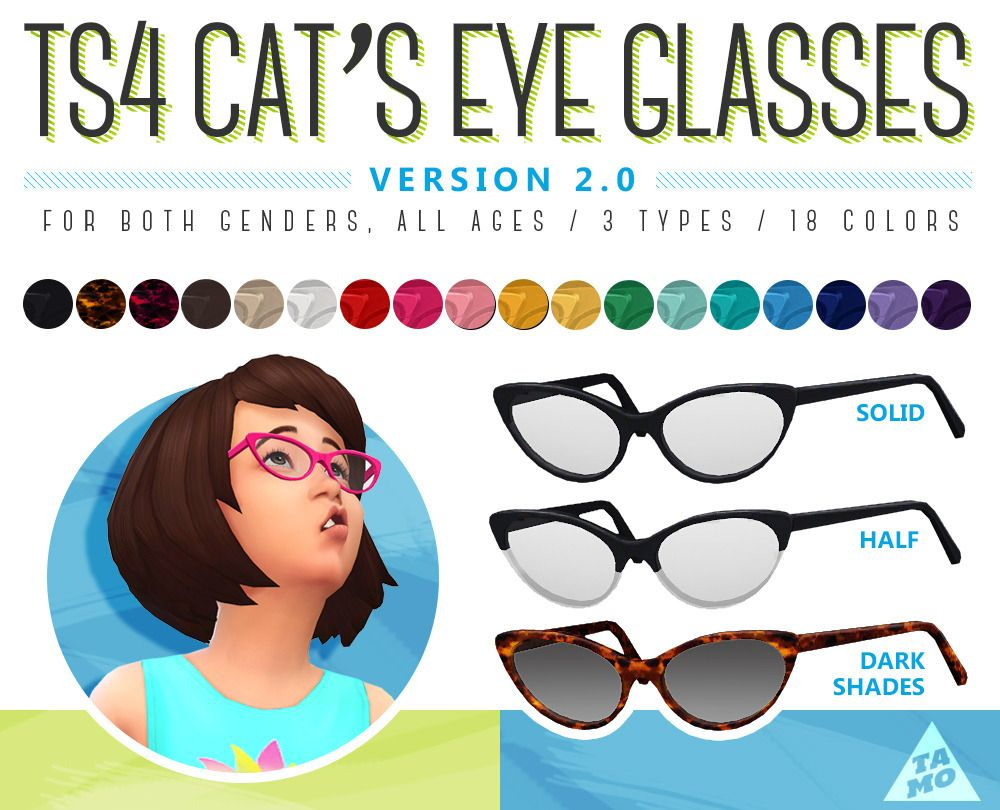 "Tamo Cat's Updatei've Updated Eye Sim"" Glasses""Now ""ts4 DWEHI2Y9"