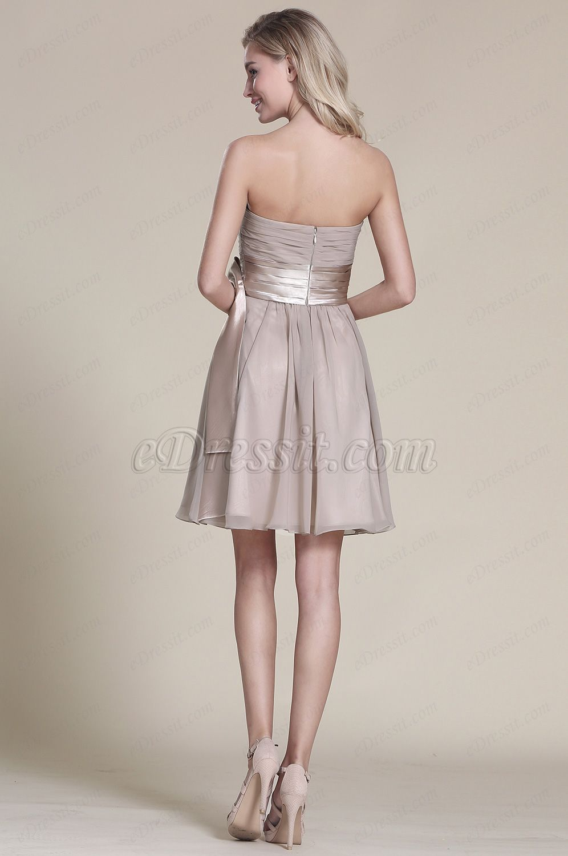 Trägerlos Grau Party Kleid Brautjungfern Kleid (07152108 ...