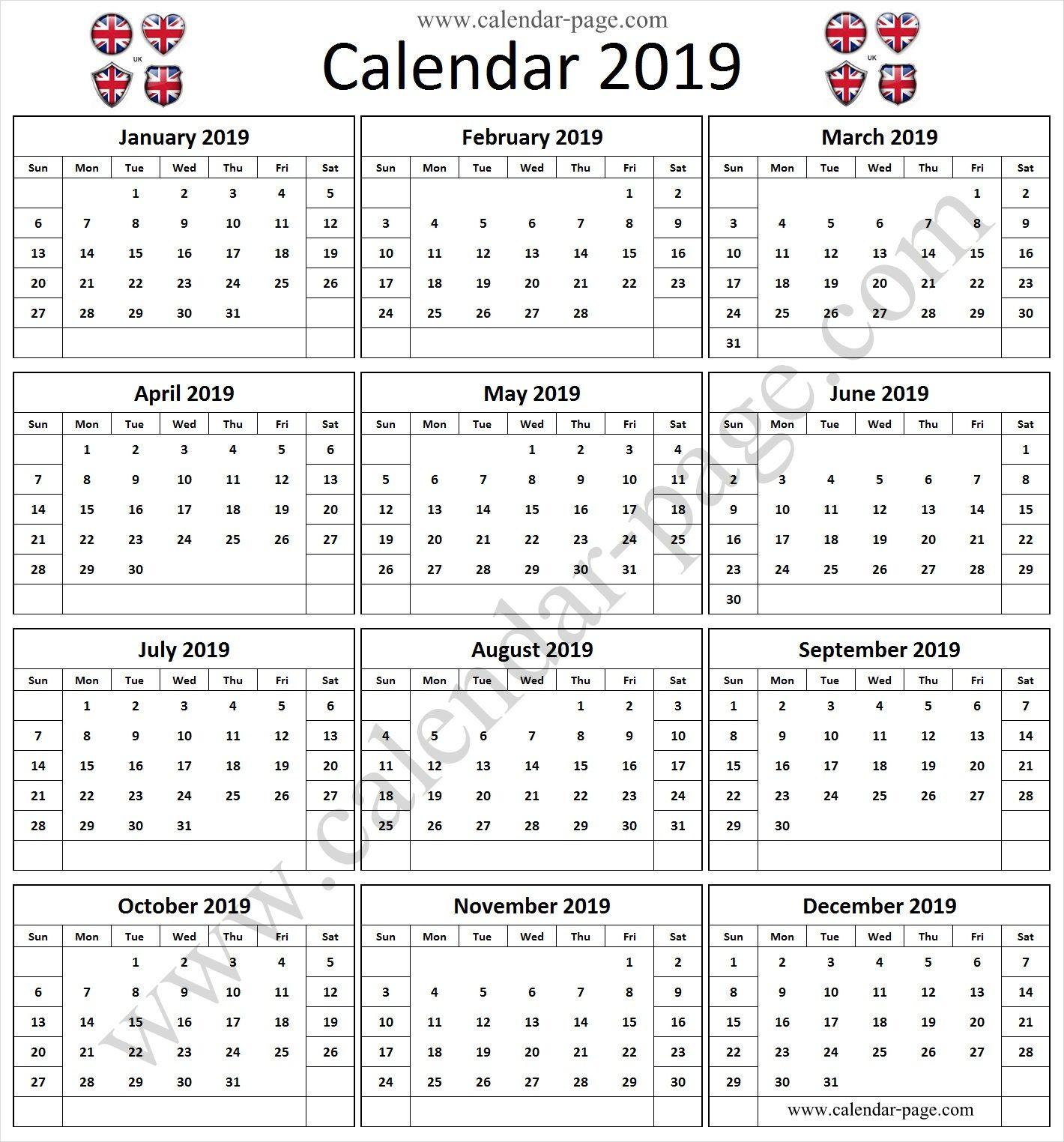 2019 Calendar Uk Printable A4 Calendar 2019 Yearly Template