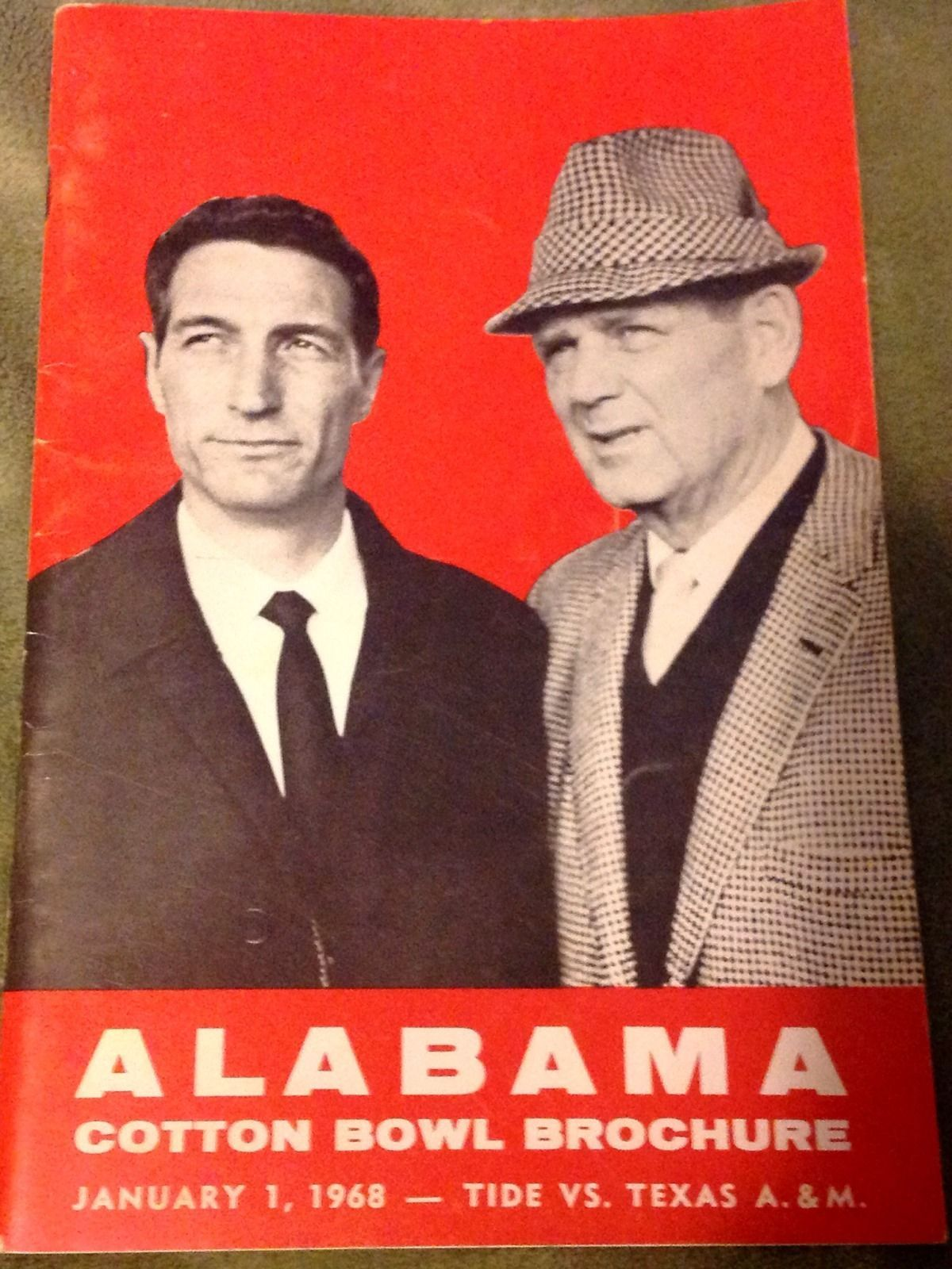 Alabama brochure for the 1968 Alabama vs Texas AM Cotton