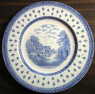 Blue Cream Thatched Cottage Lane Fleur de Lis Shabby Chic Plate M