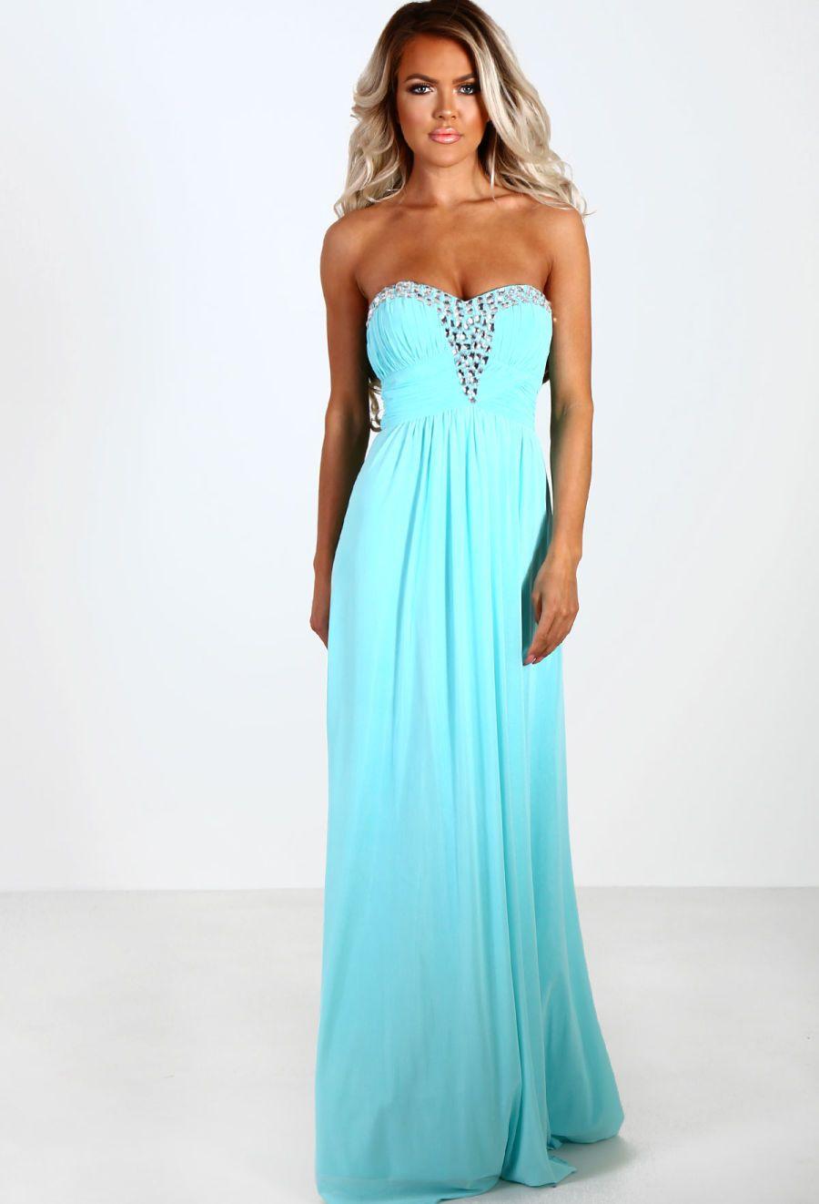 Midnight Sparkle Mint Chiffon Diamante Strapless Maxi Dress ...
