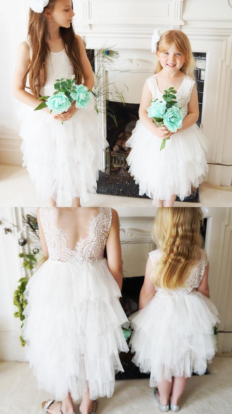 Wedding cute white lace flower girl dress short white flower girl