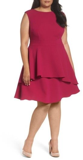 Plus Size Women s Eliza J Ruffle Drape Crepe Fit & Flare Dress Rich
