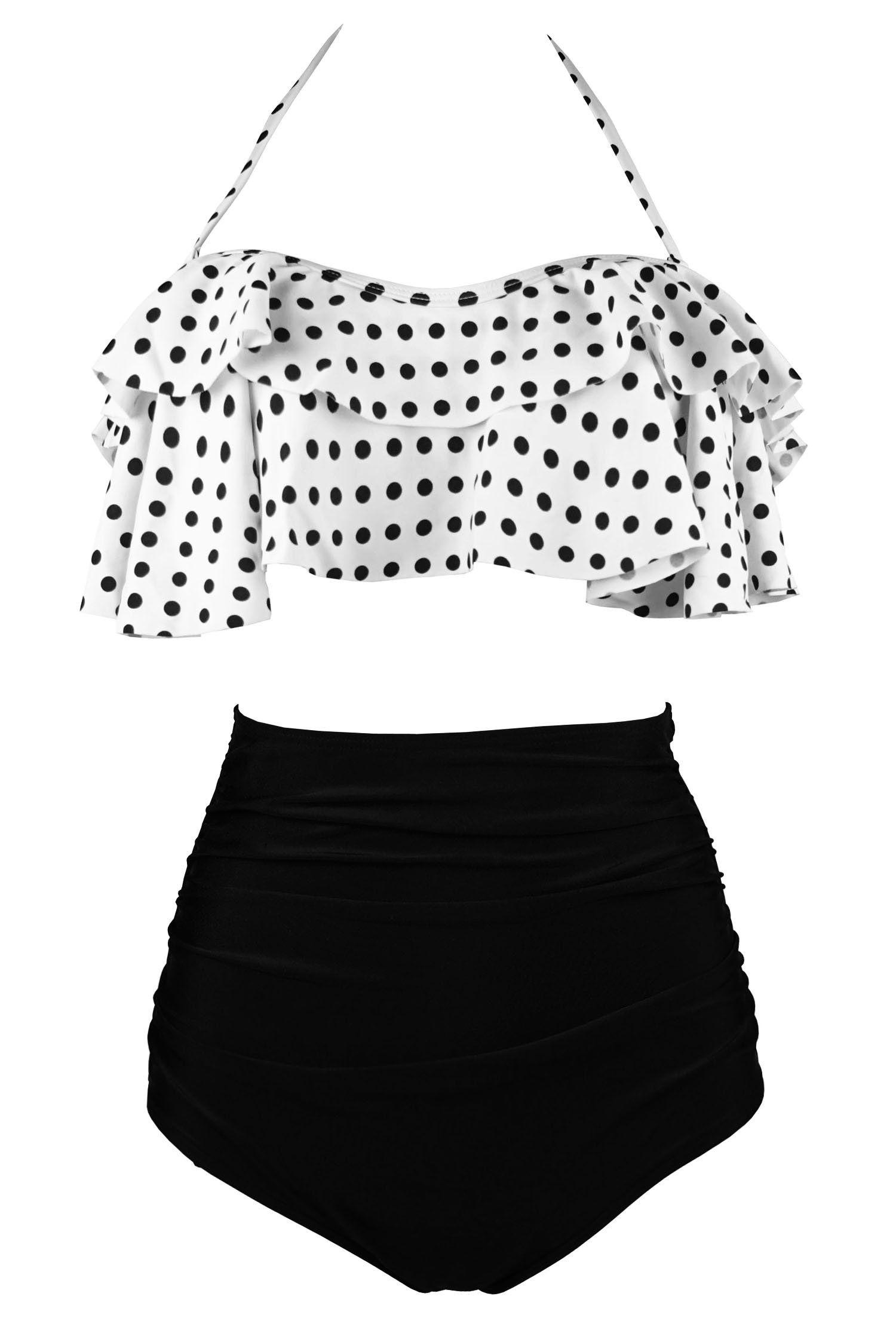 42fcbf85ec Cocoship White   Black Polka Dot Retro Boho Flounce Falbala High Waist  Bikini Set Chic Swimsuit Bathing Suit XXL(FBA)