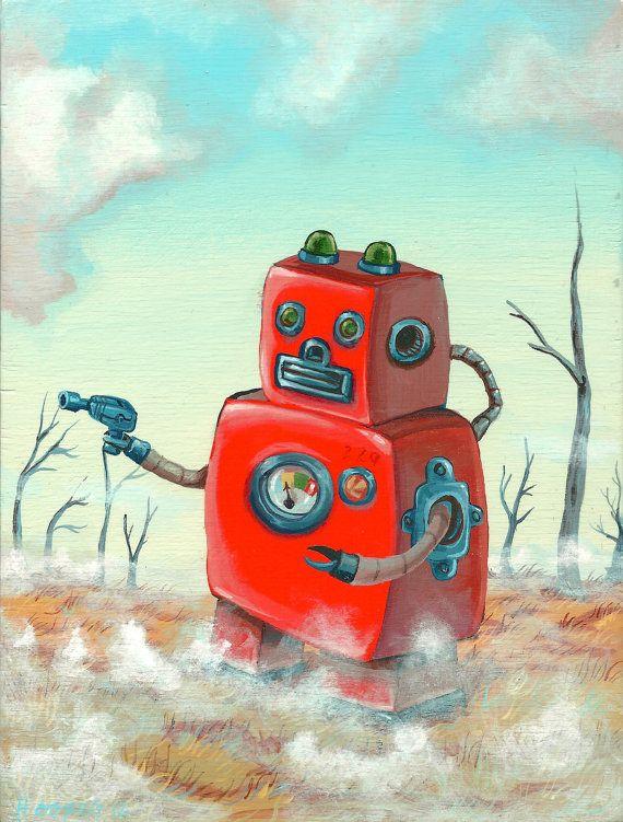 Original Robot Art  Foggy Hollow Robot  Mr Hooper by mrhooper, $180.00
