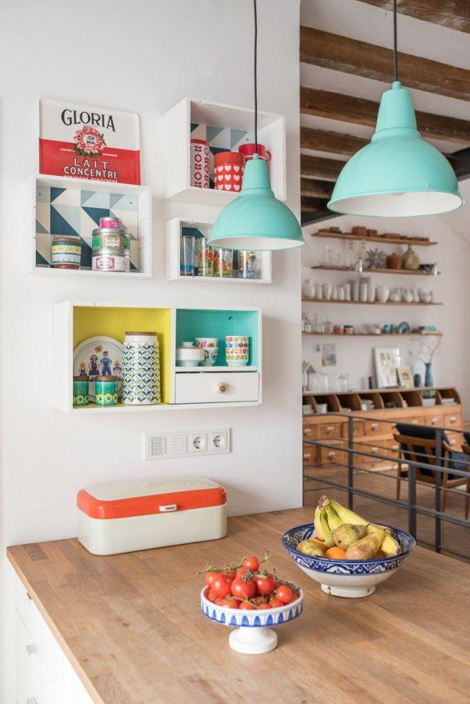 Einfache Dekoration Und Mobel Vintagelook Wandfarben #17: Küchendeko Im Vintage Look Mit Upcycling Weinkisten Regalen Und Deko In  Frischen Farben