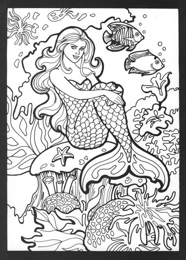 Mermaid Coloring Pages for Adults | Mermaid coloring book ...