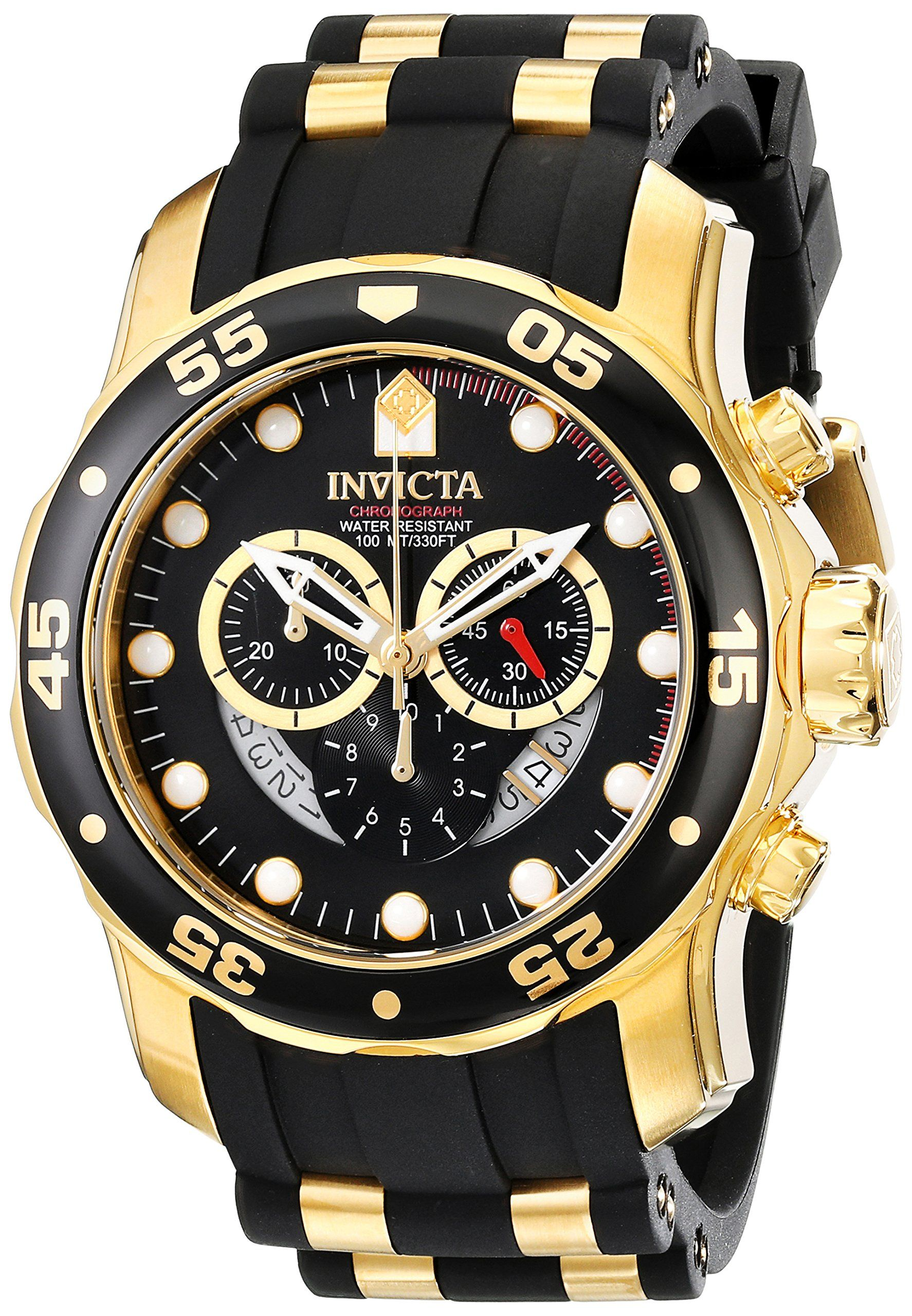 invicta herren armbanduhr xl chronograph quarz kautschuk. Black Bedroom Furniture Sets. Home Design Ideas