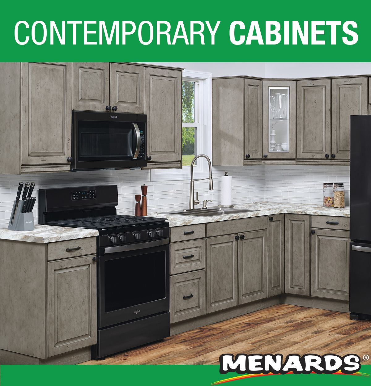 Klearvue Cabinetry Is A Menards Exclusive Cabinetry Program That Gives You The Look And Feel Of Custom Contemporary Cabinets L Shaped Kitchen Kitchen Cabinets