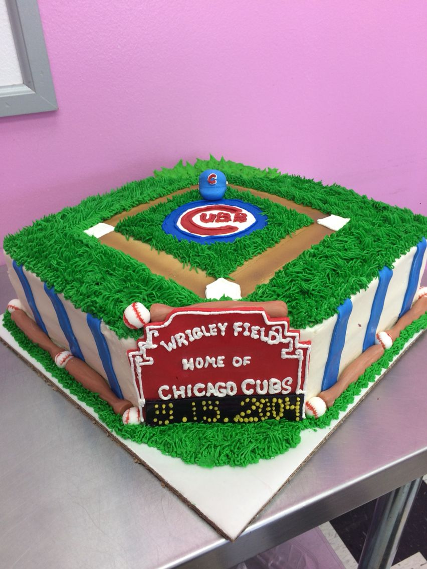 Wrigley Field Cubs Birthday Cake Fun With The Kiddos Pinterest