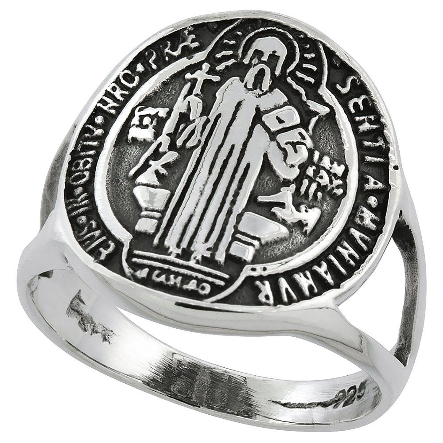 Sterling Silver Saint Benedict Ring 11 16 Inch Wide Sizes 5 10 Details Can Be Found By Cli Womens Jewelry Rings Ladies Diamond Rings Silver Diamond Ring