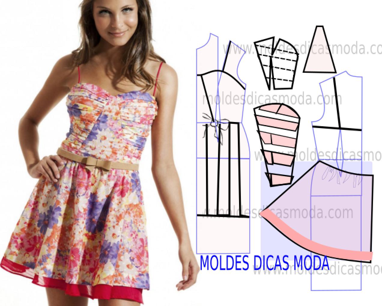 a206677cf Vestido floral casual com o passo a passo do molde   D.I.Y   Vestido ...