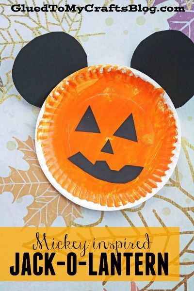 Placa de papel Mickey inspirado Jack-O-Linterna - Kid Craft - halloween kids craft ideas