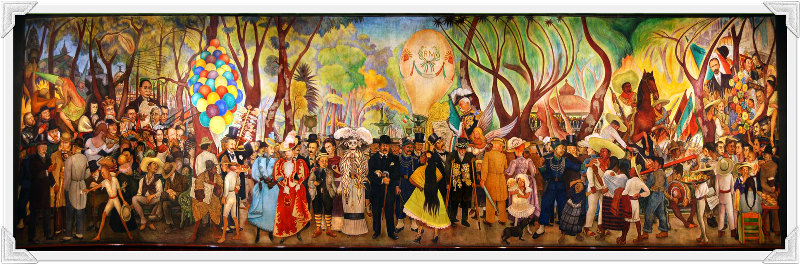 Museo mural diego rivera sue o de una tarde de domingo en for Diego rivera day of the dead mural