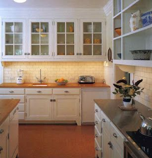 White Kitchen Butcher Block Countertops Cork Floor Yes Exactly What I Want For Our House Kitchen Inspirations Home Kitchens Glass Fronted Kitchen Cabinets